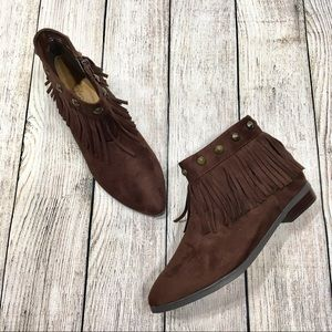 ComfortView | Brown Fringed & Studded Ankle Boots